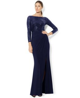 Lauren Ralph Lauren Long Sleeve Sequin Gown   Dresses   Women