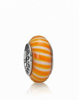 PANDORA Charm   Murano Glass & Sterling Silver Orange Candy Stripes, Moments Collection