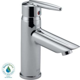 Delta Grail Single Hole 1 Handle Mid Arc Bathroom Faucet Less Pop up Drain in Chrome 585LF LPU