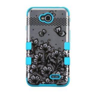 INSTEN Blue/ Black Flower Tuff Hybrid Hard Silicone Phone Case Cover