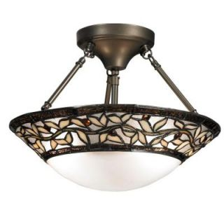 Dale Tiffany Cyprus Oaks 2 Light Dark Bronze Art Glass Semi Flush Mount Light TH12320