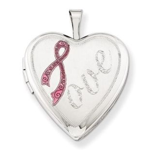 Sterling Silver 20mm Awareness Satin Pink Ribbon Love Heart Locket