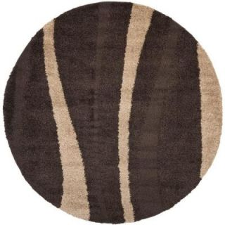 Safavieh Willow Shag Dark Brown/Beige 6 ft. 7 in. x 6 ft. 7 in. Round Area Rug SG451 2813 7R