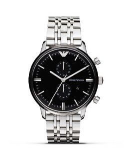 Emporio Armani 316 Stainless Steel Black Dial Bracelet Watch, 43mm