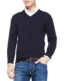 Brunello Cucinelli Cashmere V Neck Pullover Sweater, Navy