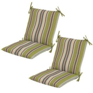 Hampton Bay Connelly Stripe Mid Back Outdoor Dining Chair Cushion (2 Pack) 7410 02237900