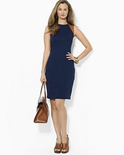 Lauren Ralph Lauren Leather Trimmed Sleeveless Dress