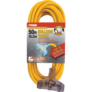 Prime Wire & Cable Bulldog Tough Outdoor Extension Cord with Triple Tap — 50ft., 15 Amps, 12/3 Gauge, Yellow, Model# LT611830  Extension Cords