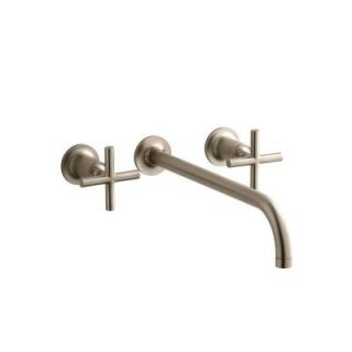 KOHLER Purist 2 Handle Wall Mount Lavatory Faucet Trim and Cross Handles (Valve not included) DISCONTINUED K T14416 3 BV