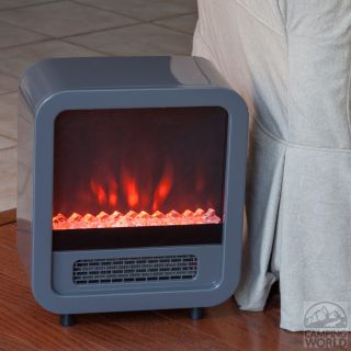 Silver Skyline Electric Fireplace Stove   Fire Sense 61449   Portable Heaters