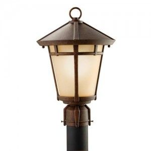 Kichler 9955AGZ Outdoor Light, Transitional Post Mount 1 Light Fixture   Aged Bronze