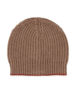 Brunello Cucinelli Cashmere Ribbed Hat, Brown/Orange