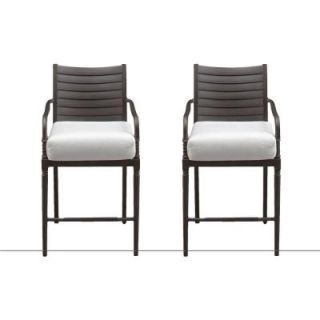 Hampton Bay Madison Patio High Dining Chairs with Cushion Insert (2 Pack) (Slipcovers Sold Separately) 13H 001 HD2 NF