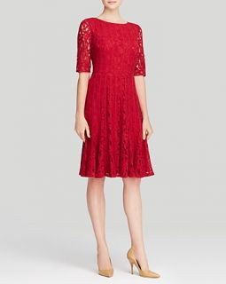 Adrianna Papell Dress   Elbow Sleeve Lace Fit and Flare