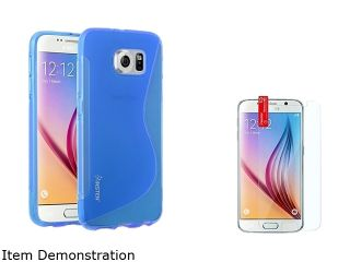 Insten Clear Blue TPU S Shape Skin Back Case + Clear Screen Protector For Samsung Galaxy S6 2076585