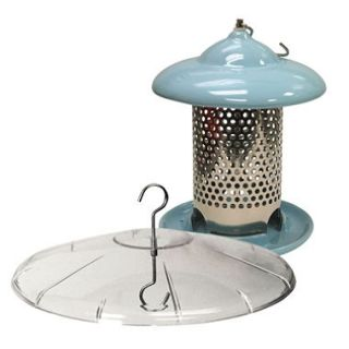 Bird Stop Ceramic Bird Feeder with Squirrel Baffle, Blue