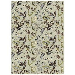 Radici Usa Alba Area Rugs   1857 Traditional Oriental Soft Mint Garden Flowers Leaves Rug