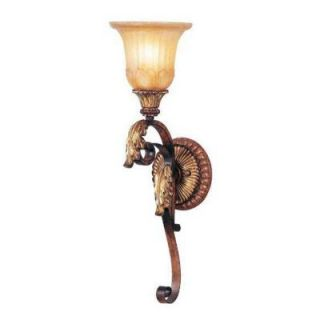Livex Lighting 1 Light Verona Bronze with Aged Gold Leaf Accents Sconce and Rustic Art Glass 8581 63