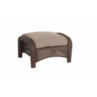 Hampton Bay Walnut Creek Patio Ottoman with Wheat Cushion (2 Pack) DISCONTINUED FRS62265F Wheat