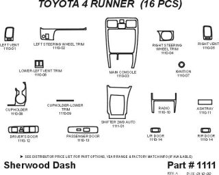 1999 2002 Toyota 4Runner Wood Dash Kits   Sherwood Innovations 1111 N50   Sherwood Innovations Dash Kits