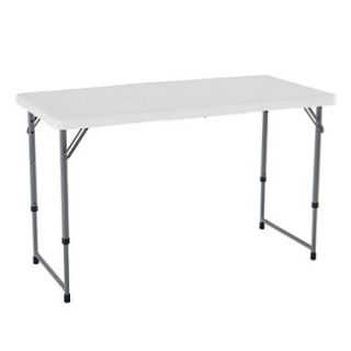 Lifetime 4 Light  Adjustable Fold in Half Commercial Grade Table, White Granite