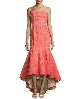 ML Monique Lhuillier Strapless Lace Gown with High Low Hem