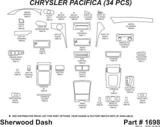 2005, 2006 Chrysler Pacifica Wood Dash Kits   Sherwood Innovations 1698 CF   Sherwood Innovations Dash Kits