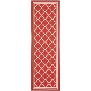 Safavieh Indoor/ Outdoor Courtyard Red/ Bone Rug (2'3 x 22')