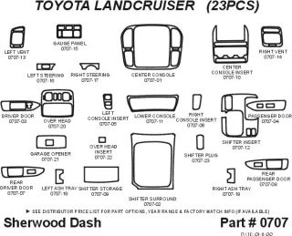 1998 2002 Toyota Land Cruiser Wood Dash Kits   Sherwood Innovations 0707 CF   Sherwood Innovations Dash Kits