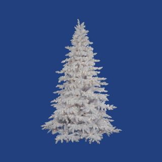 Vickerman 4.5 ft Pre Lit Spruce Flocked White Artificial Christmas Tree with Warm White LED Lights
