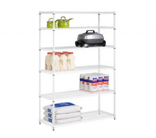 Honey Can Do 6 Tier White Steel Commercial Grade Shelving Unit —