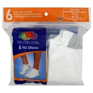 Fruit of the Loom Socks, Mens, No Shows, 6 12, 6 pair   Clothing