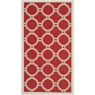 Safavieh Indoor/ Outdoor Courtyard Red/ Bone Geometric pattern Rug (2
