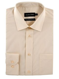 Double TWO Non iron poplin long sleeve shirt Cream