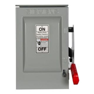 Siemens Heavy Duty 30 Amp 600 Volt 3 Pole Outdoor Non Fusible Safety Switch HNF361R