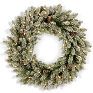 30 Inch Snowy Concolor Fir Wreath with Clear Lights    National Tree Company
