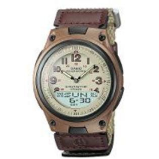 Casio Mens Calendar Day/Date Watch with Round Tan Dial and Brown