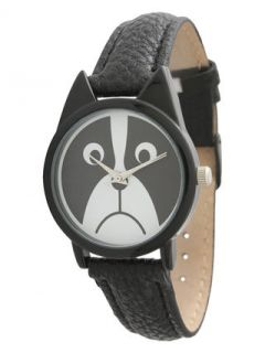 Black Leather & Animal Face Dial Watch, 38mm by Olivia Pratt Watches