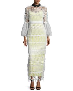 Self Portrait Long Sleeve Art Deco Lace Maxi Dress, White