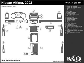 2002 Nissan Altima Wood Dash Kits   B&I WD434I DCF   B&I Dash Kits