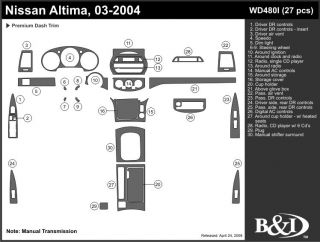 2003, 2004 Nissan Altima Wood Dash Kits   B&I WD480I DCF   B&I Dash Kits