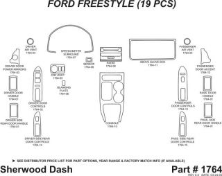 2005, 2006, 2007 Ford Freestyle Wood Dash Kits   Sherwood Innovations 1764 N50   Sherwood Innovations Dash Kits