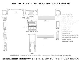 2005 2009 Ford Mustang Wood Dash Kits   Sherwood Innovations 2949 CF   Sherwood Innovations Dash Kits