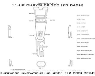 2011, 2012, 2013 Chrysler 200 Wood Dash Kits   Sherwood Innovations 4381 AJ   Sherwood Innovations Dash Kits