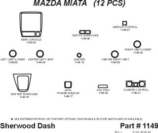 1999 2005 Mazda Miata/MX 5 Wood Dash Kits   Sherwood Innovations 1149 N50   Sherwood Innovations Dash Kits