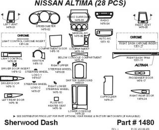 2003, 2004 Nissan Altima Wood Dash Kits   Sherwood Innovations 1480 CF   Sherwood Innovations Dash Kits