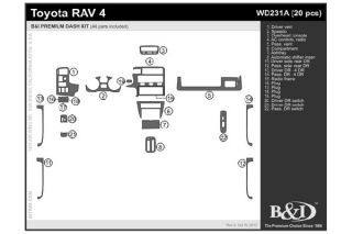 1998, 1999, 2000 Toyota RAV4 Wood Dash Kits   B&I WD231A DCF   B&I Dash Kits