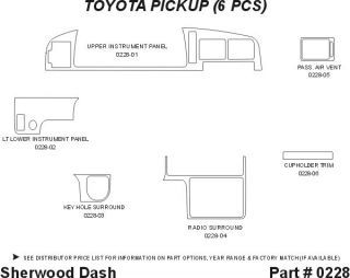 1994 Toyota Pickup Wood Dash Kits   Sherwood Innovations 0228 CF   Sherwood Innovations Dash Kits