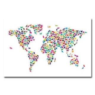 Trademark Fine Art 22 in. x 32 in. World Map   Cats Canvas Art MT0155 C2232GG