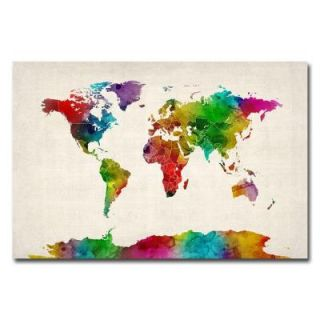 Trademark Fine Art 16 in. x 24 in. Watercolor World Map II Canvas Art MT0012 C1624GG